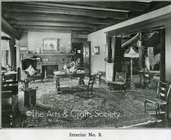 Arts and crafts interior bungalow living room 1910 a - Arts and crafts bungalow interiors ...