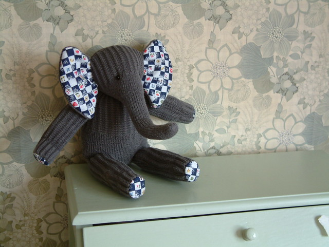 a sock elephant with cotton feet and ear linings ... Flickr - Photo Sharing!