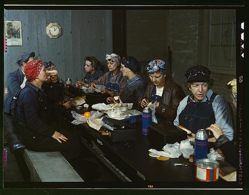 Women workers employed as wipers in the roundhouse having lunch in their rest room, C. & N.W. R.R., Clinton, Iowa  (LOC)