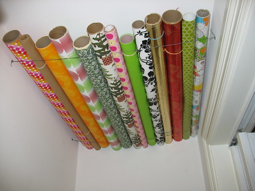 wrapping paper storage solution