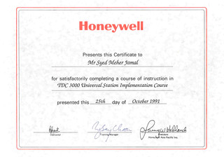 1991-10-25 TDC3000 Universal Station Training Certificate