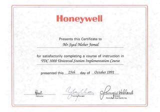 1991-10-25 TDC3000 Universal Station Training Certificate