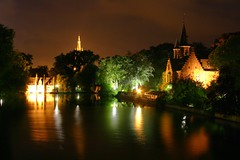 A view across the Minnewater (a canalized lake) at night.