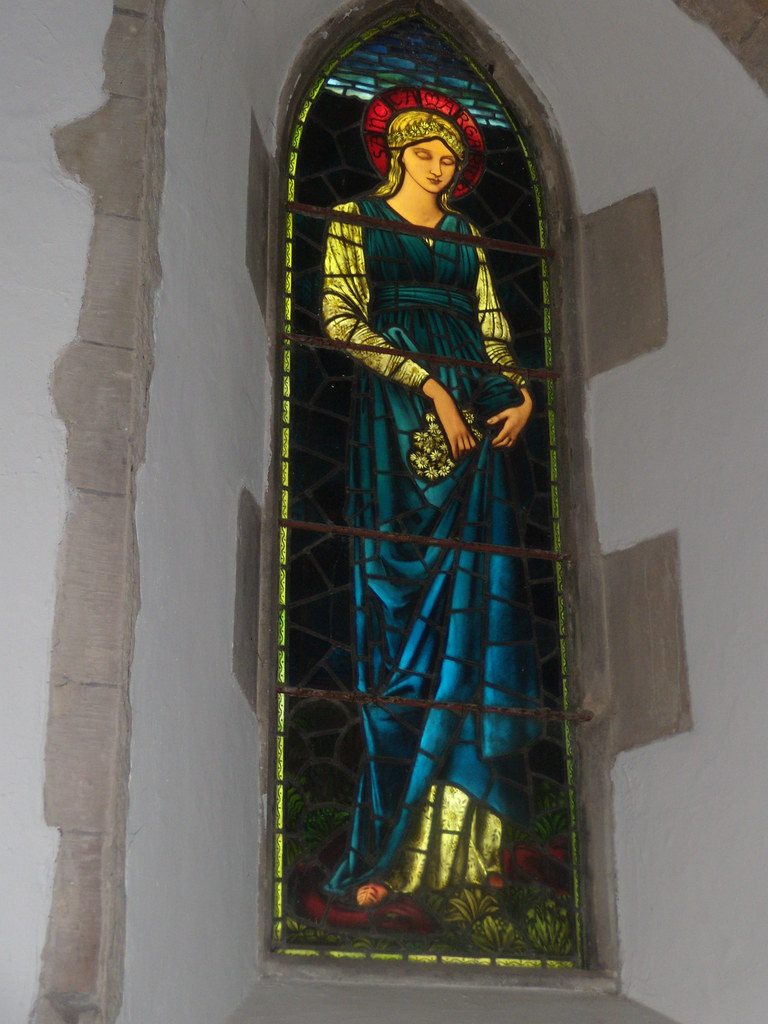 Margaret of Antioch One of several windows by Burne-Jones/William Morris in St Margaret's church Rottingdean. Southease to Rottingdean