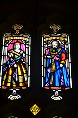 Queen Victoria and Prince Albert stained glass windows in Worcester Cathedral