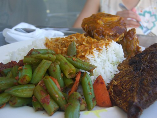 Fried Fish, Lamb Curry, French Beans with Basmatic Rice - Tastes of Singapore