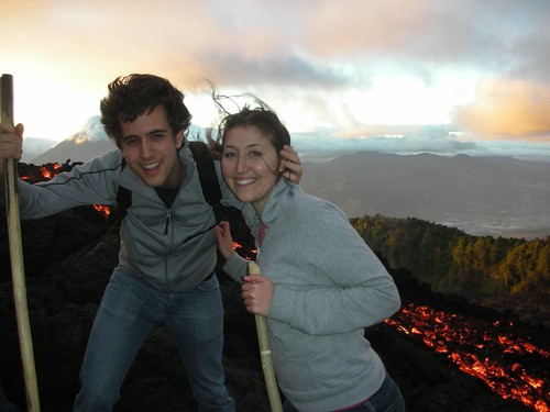 trying not to fall in the lava, smile pretty, and keep my hair out of our faces