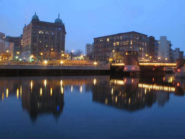 Germania and Cawker Buildings at Twilight