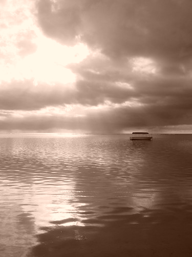 ocean beach sepia clouds boat indianocean mauritius evanlawrencebench