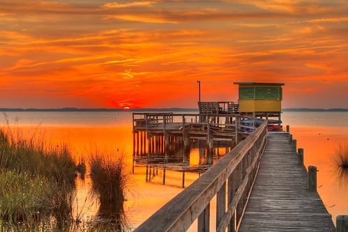 sunset sea sky color northcarolina sound outerbanks hdr obx