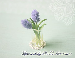 Dollhouse Miniature Flowers - Purple Hyacinth in 1/12 Scale