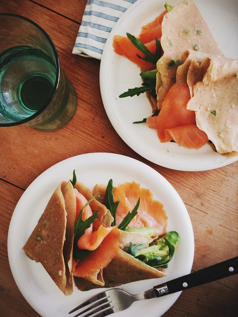 Buckwheat scallion pancakes with Irish smoked salmon, avocado and rocket