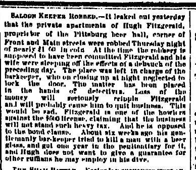 Saloon Keeper Robbed - June 27 1883 Oregonian