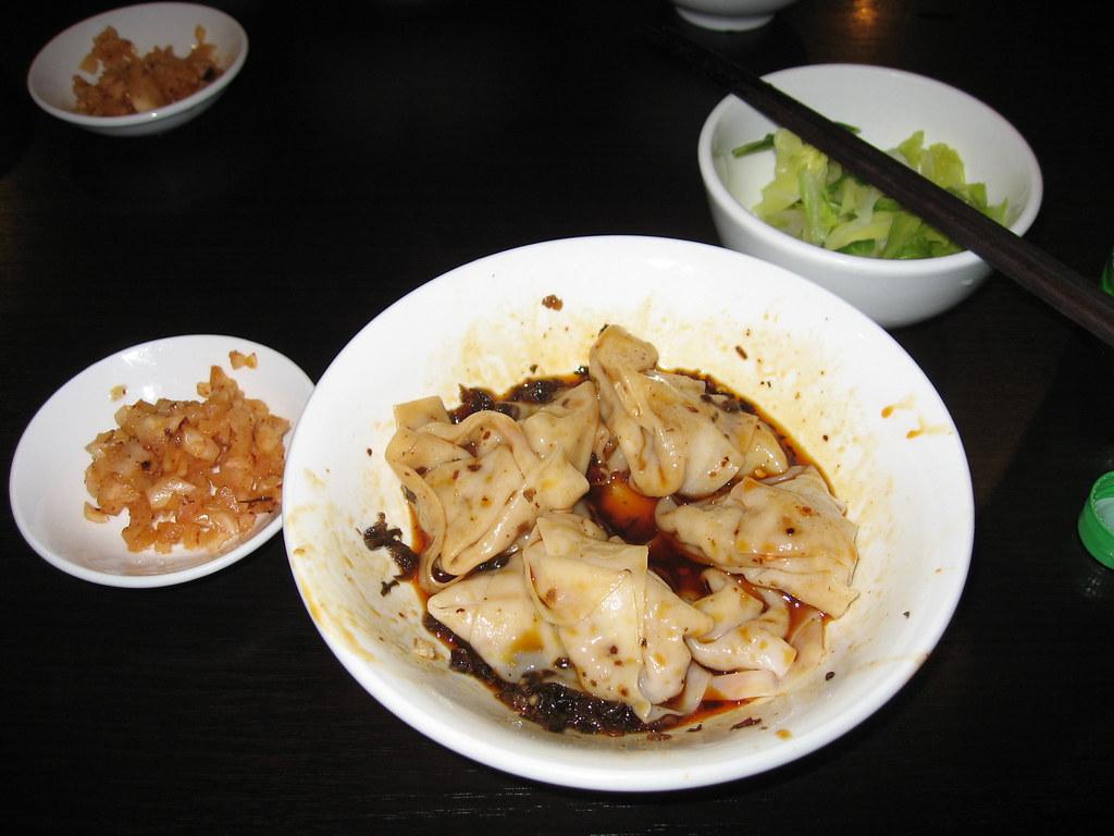 Spicy pork dumplings in Chengdu