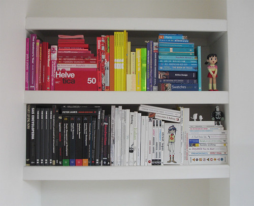 Colour coded bookshelf