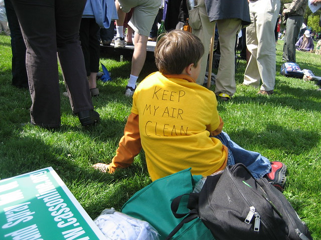 a child at a anti-pesitcide spraying protest