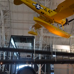 Steven F. Udvar-Hazy Center: Lockheed SR-71 Blackbird port panorama (yellow Naval Aircraft Factory N3N seaplane overhead)