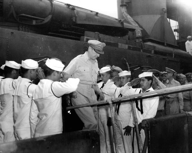 surrender_26 General of the Army Douglas MacArthur departing the USS Buchanan DD-484 at Yokohama, Japan following the surrender ceremony