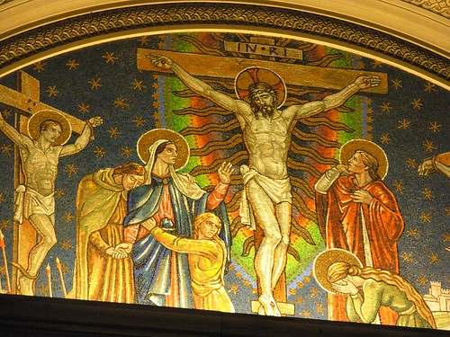 Hildreth Meiere Mosaic of Crucifixion in the Chapel at Wernersville Jesuit Spiritual Center.