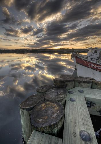 sunset sky cloud sun reflection water ga river georgia boat dock waterfront sigma brunswick 1020mm hdr shrimpboat xti