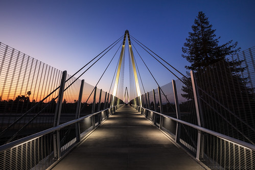 california longexposure bridge sunset usa night footbridge mary pedestrian ave cupertino avenue cablestayedbridge