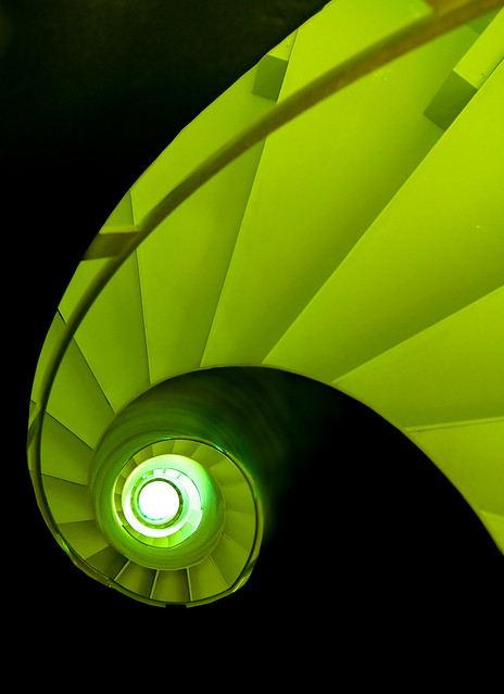 Spiral Staircase in Black and Green
