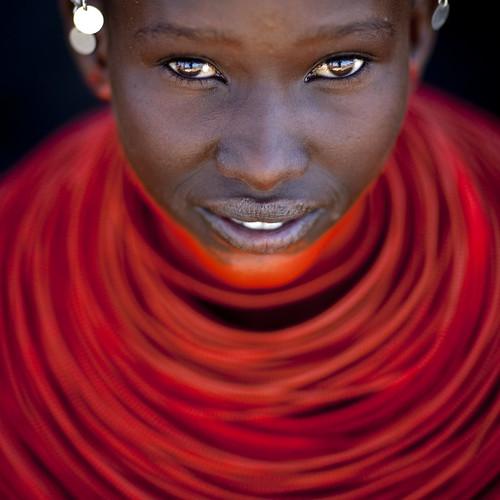 Samburu young girl with red neckalce - Kenya
