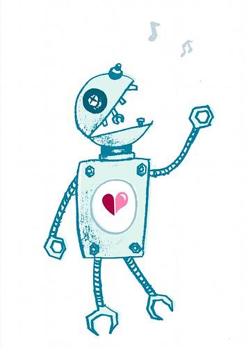 Ilustración: robot feliz cantando
