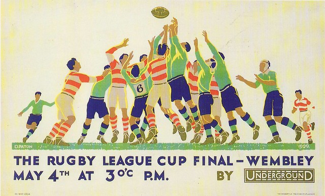 Repro Rugby League Cup final Wembley 1929 - artwork by D.Paton - London Underground