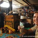 Audrey Drinking Coffee at Market - La Esperanza, Honduras