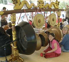 Sophia and Me Playing the Gongs