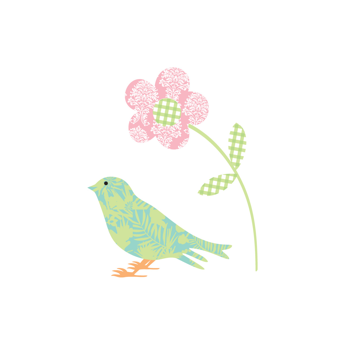 Printable Note Cards Patchwork Bird And Flower Printable Note Cards Gift Tags And