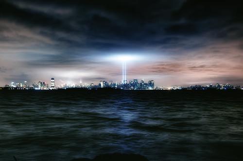 nyc newyorkcity longexposure newyork reflection skyline night geotagged newjersey jerseycity worldtradecenter 911 esb hudsonriver empirestatebuilding wtc statueofliberty bayonne goldmansachs tributeinlights mudpig stevekelley