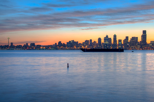 seattle blue sunrise nikon downtown calm barge hdr d90 3xp 18200mmf3556