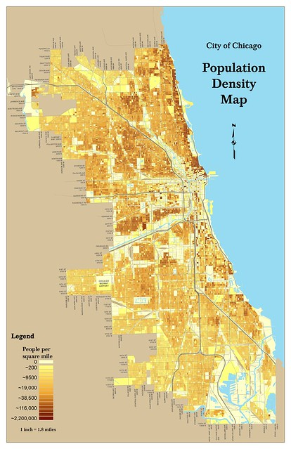 Chicago Population Density Map  By Census Block  2000