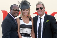 Brian Lara and Shane Warne with partner and guest in the Birdcage - Derby Day 2009