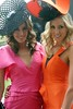 Rebecca Twigley poses with her sister Kate at Fashion on the Feilds