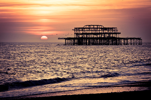 Brighton West Pier sunset March 2014