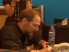 Les Stroud signing a boonie hat