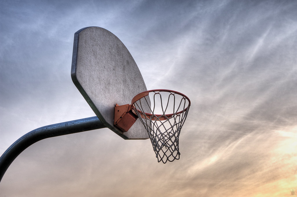 Basketball hoop against a sky