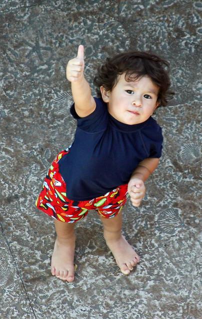 little boy thumbs up