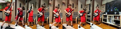 nick, parodying his mother's saturday morning air guitar efforts