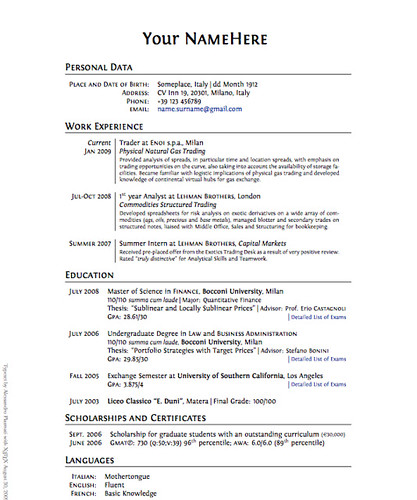Resume Styles Business