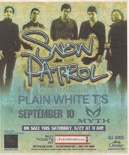 09/10/09 Snow Patrol/Plain White T's @ Maplewood, MN - (MOVED) (Ad)