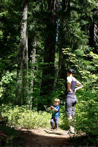 sequoia running past rachel with a handful of huckleberries    MG 0132
