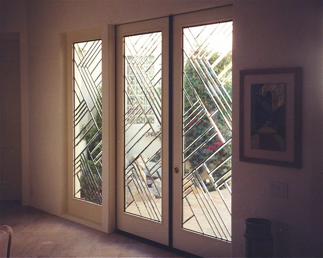 Stained Decorative Architectural Art Glass Door Z Bevels