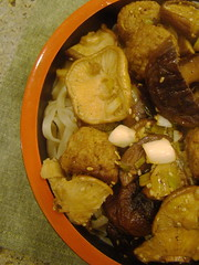Handmade Soba, Shiitaki Mushrooms,  and  Sesame Soy Ball