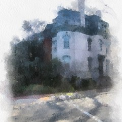 White Corner Rowhouse Watercolor No.1