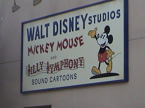 Walt Disney studios Mickey Mouse and Silly Symphony Sound Cartoons billboard, Sunset Blvd., Hollywood Pictures Backlot, Disney's California Adventure®, Anaheim, California, 2009.05.24 16:06