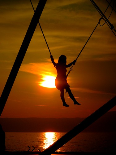 sunset sea summer people orange nature water sunrise children jump action sur